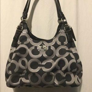 Black and silver Coach op art handbag